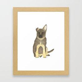 """Blue"" the German Shepherd Dog (GSD) Puppy Framed Art Print"