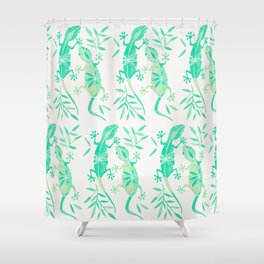 Geckos – Mint Palette Shower Curtain