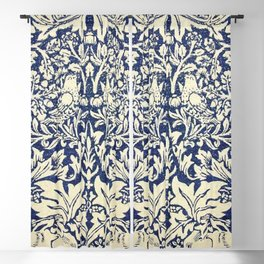 Brother Rabbit - Sand on Navy, William Morris Blackout Curtain
