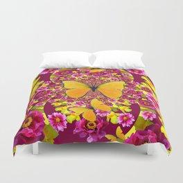 GARDEN FLOWERS & YELLOW BUTTERFLIES Duvet Cover