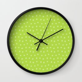 Green background with white minimal hand drawn ring pattern Wall Clock