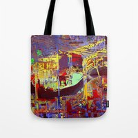 miami Tote Bags featuring miami by donphil