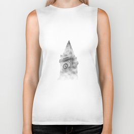 006 - Clock tower in clouds Biker Tank