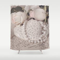 Soft Pink Nostalgic Rose and Heart Still Shower Curtain