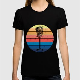 Retro Microphone Graphic Musical Karaoke Singer T-shirt