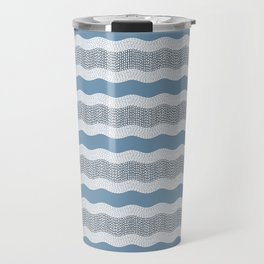 Wavy River in Blue and Gray 1 Travel Mug