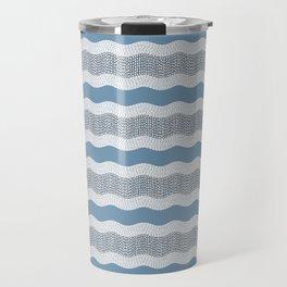 Wavy River in Blue and Gray 1 Travel Mug