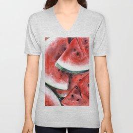 Juicy Watermelon in Watercolor- Food Art Unisex V-Neck