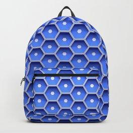 Blue honeycomb hexagons Backpack