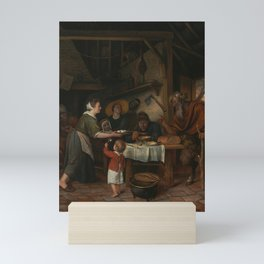 Jan Steen - The Satyr and the Peasant Family Mini Art Print