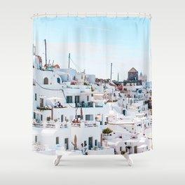 Santorini Greece Ligh Blue Sky Shower Curtain