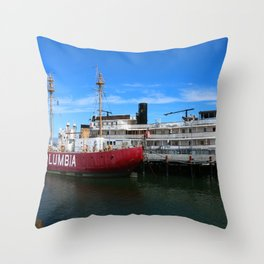 Riverboat Legacy and Fireship Columbia on Columbia River Throw Pillow