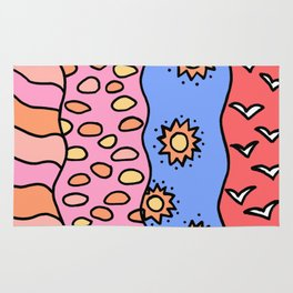 Doodle Art Drawing - Seagulls Rocks and Waves - Coral Blue Pink 2 Rug