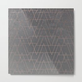 Modern rose gold geometric triangles blush pink abstract pattern on grey cement industrial Metal Print