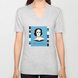 Mary Shelley, hand-drawn portrait Unisex V-Neck