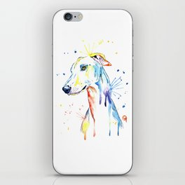 Greyhound Colorful Watercolor Pet Portrait Painting iPhone Skin