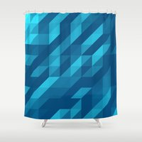 polygon Shower Curtains featuring Polygon Five by Jambot