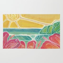Triple Hibiscus Surf Art by Lauren Tannehill Art Rug