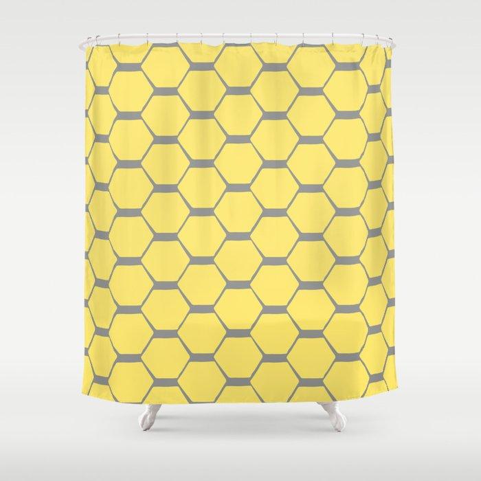 Grey and Yellow Hexagons Shower Curtain