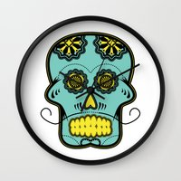 calavera Wall Clocks featuring Calavera  by Cody Wilkes-Booth