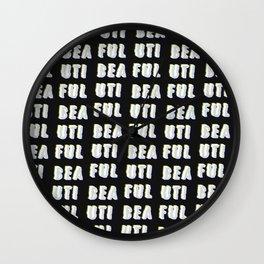 Beautiful - Typography Wall Clock
