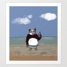 Panda in water Art Print