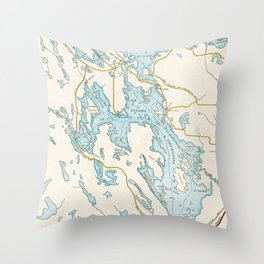 Vintage Muskoka Lakes Map Throw Pillow
