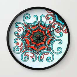 Turquoise and red mandala Wall Clock