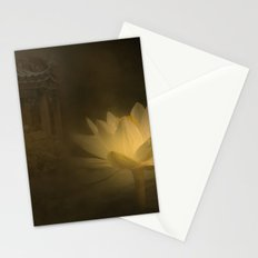 A mystic lotus flower illuminated by the moon in a Chinese garden.. Stationery Cards