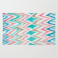 craftberrybush Area & Throw Rugs featuring Ikat watercolor chevron  by craftberrybush