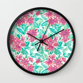 Ixora Hybrid Crimson Star Watercolor Pattern Wall Clock