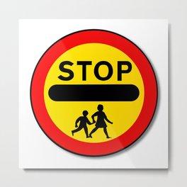 Stop Children Traffic Sign Metal Print