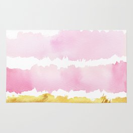 Pink and Gold Bold Watercolor Brush Strokes Rug