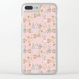 PINK INDIANS AND TEPEE Clear iPhone Case