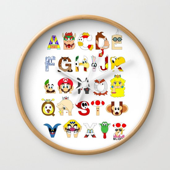 Super Mario Alphabet Wall Clock