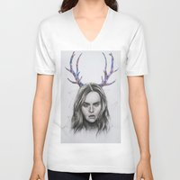 cara delevingne V-neck T-shirts featuring Cara Delevingne  by Pritish Bali