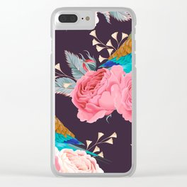 Rainbow Birds Pink Roses Floral Kingdom Sumptuous Fantasy Flower Pattern Clear iPhone Case