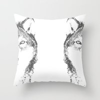 wolves Throw Pillows featuring WOLVES by Aonair Designs