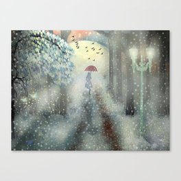 Walking in the snow by Ezgi D. Ykpğl Canvas Print