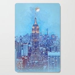NYC Skyline Watercolor Cutting Board