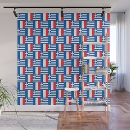 Mix of flag: France and greece Wall Mural