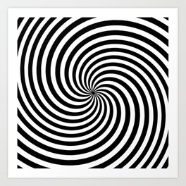 Black And White Op Art Spiral Art Print