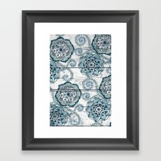 Navy Blue Floral Doodles on Wood Framed Art Print