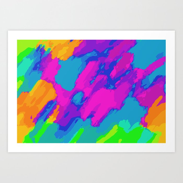 Pink Blue Green And Orange Painting Abstract Background Art Print