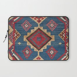 Vintage Woven Kilim II // 19th Century Colorful Royal Blue Yellow Authentic Classic Ornate Accent Pa Laptop Sleeve
