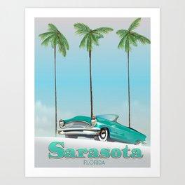 Sarasota Florida vintage style travel poster Art Print