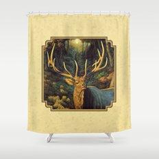 Bull Elk in Autumn Shower Curtain