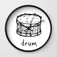 drum Wall Clocks featuring drum by Isaac Collmer
