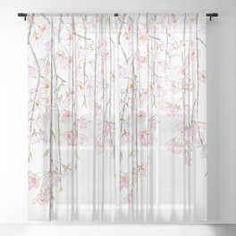 pink cherry blossom spring 2018 Sheer Curtain