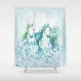 Two Arabian Horses in Watercolor Shower Curtain